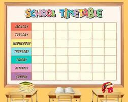 Modèle de calendrier scolaire avec le thème de la classe vecteur