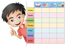Modèle de calendrier scolaire avec le thème de la corvée