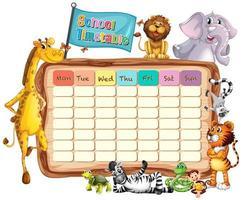 Modèle de calendrier scolaire avec animaux et drapeau vecteur