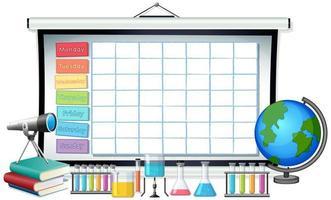 Modèle de calendrier scolaire avec le thème de la science vecteur