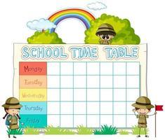 Planning scolaire avec scouts et arc-en-ciel vecteur