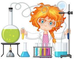 Scientifique faisant des expériences en laboratoire scientifique vecteur