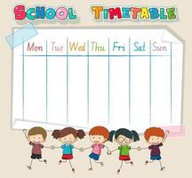 Planning scolaire avec les enfants se tenant la main vecteur