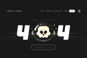 error 404 landing page avec crâne vecteur