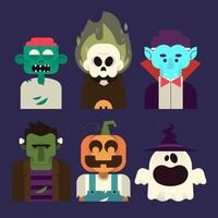 Jeu de caractères d'Halloween vecteur
