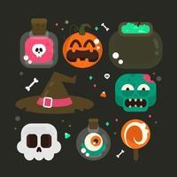 Collection d'éléments Halloween vecteur