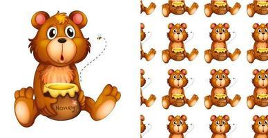 Ours sans couture et isolé avec un motif de pot de miel vecteur