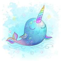 Jolie baleine de licorne. Aquarelle. Illustration vectorielle