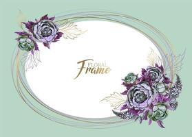 Cadre ovale avec des fleurs. Invitation de mariage.