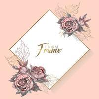 Cadre de mariage avec invitation de fleurs. vecteur