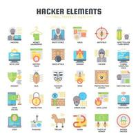 icônes plat éléments hacker vecteur