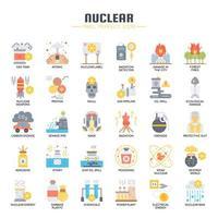 Icônes de couleur plat éléments nucléaires vecteur