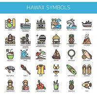 Hawaii Symbols Thin Line Icons de couleur vecteur