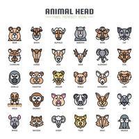 Tête animale icônes de couleur fine ligne vecteur
