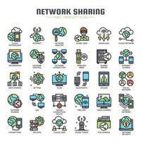 Partage réseau icônes de couleur de ligne mince