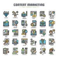 Contenu marketing icônes de la ligne mince