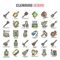 Nettoyage des icônes de la ligne mince vecteur