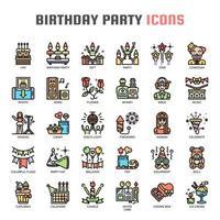 Icônes de fine ligne de fête d'anniversaire