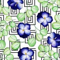 Aquarelle Memphis Floral Background vecteur