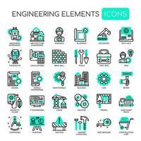 Éléments d'ingénierie icônes de fine ligne monochrome vecteur