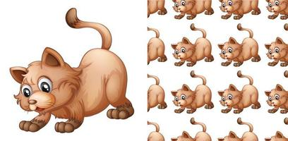 Caricature de modèle de chat isolé et sans soudure vecteur