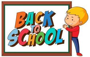 Signe de retour à l'école avec garçon vecteur