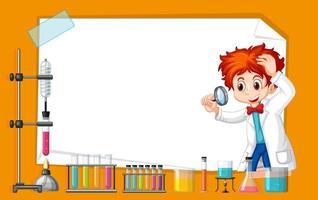 Conception de modèle de cadre avec enfant dans un laboratoire scientifique vecteur