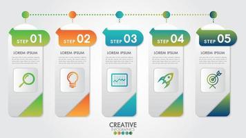 Modèle moderne d'infographie pour les entreprises en 5 étapes vecteur