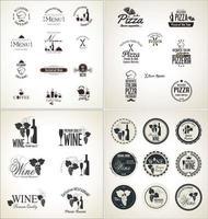 Ensemble de grandes étiquettes pour restaurant et café