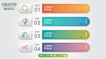Modèle d'infographie 4 étapes ou options avec des icônes vectorielles et marketing. vecteur