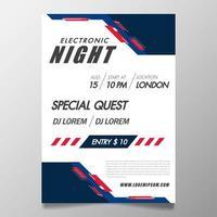 Affiche de festival de musique modèle night-club flyer avec fond vecteur