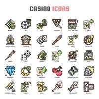 Icônes de fine ligne de casino vecteur