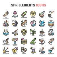 éléments de spa icônes de fine ligne