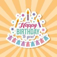 carte de joyeux anniversaire avec des bougies et des glands sur le motif de rayons