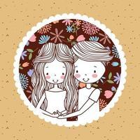 joli portrait vintage de couple enceinte avec des fleurs vecteur