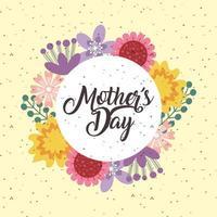 carte de fête des mères avec des fleurs et fond moucheté vecteur