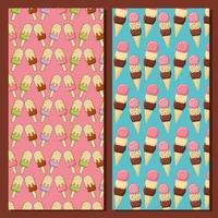barre de crème glacée et motifs de cônes