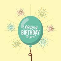 carte de joyeux anniversaire avec ballon et feux d'artifice