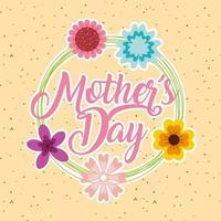 carte de fête des mères avec couronne florale vecteur