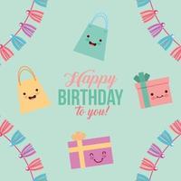 carte de joyeux anniversaire avec des cadeaux kawaii