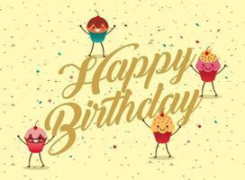 carte de joyeux anniversaire avec des cupcakes kawaii vecteur