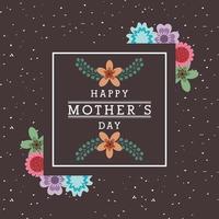 carte de fête des mères avec motif floral et carré avec texte