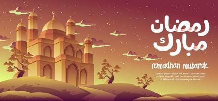 Ramadhan Mubarak avec une magnifique mosquée d'or vecteur