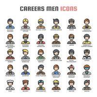 Carrières Hommes Thin Line Icons vecteur