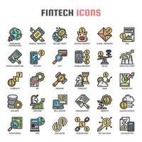 Icônes de fine ligne Fintech vecteur
