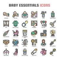 icônes de fine ligne essentiels bébé