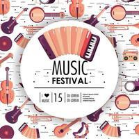 acourdion et instruments au festival de musique vecteur