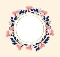 cercle fleurs plantes avec étiquette de cercle vecteur