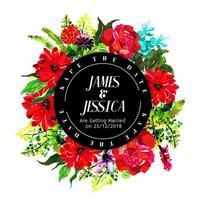 Cadre d'invitation de mariage floral aquarelle coloré vecteur