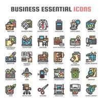 icônes essentielles de la ligne d'affaires vecteur
